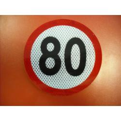 Geschwindigkeitsaufkleber Schild 80 km/h